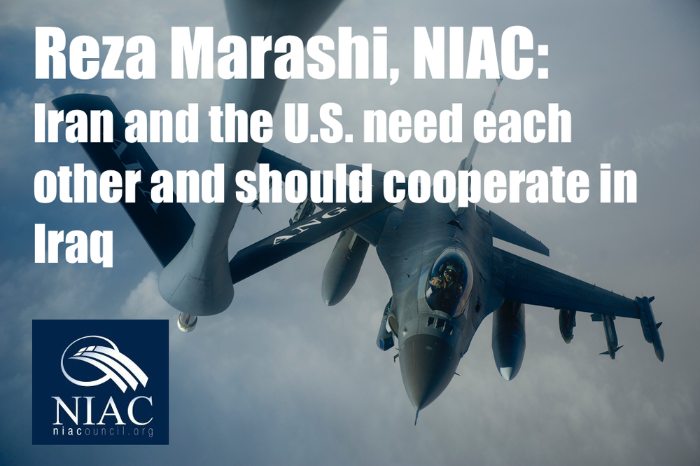 Image  Source .  The National Iranian American Council's Reza Marashi  says Iran and the U.S . need each other and should cooperate in Iraq.