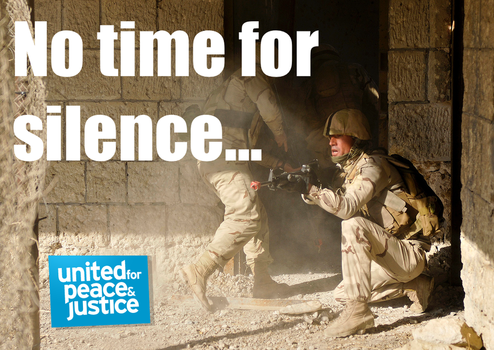 Image  Source .  United for Peace and Justice  look towards a humanitarian and political solution  to ISIS/ISIL and reject any purely military solutions. Check out their page for links to helpful resources and how to amplify their position.