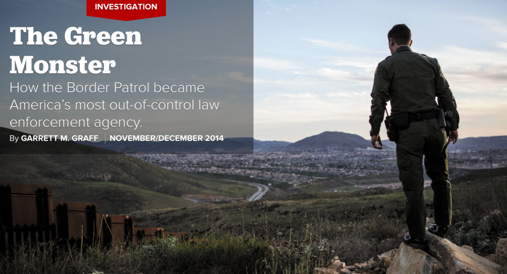Typically we do not post articles here, but an exception will be made for this amazing and disturbing article in Politico. Customs and Border Protection have expanded dramatically since 2001, and the results of that expansion have had benefits and sincere drawbacks. This article sheds light on a single incident of extreme violence that illustrates some of the worrying problems present at CBP.