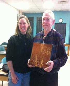 Soil artist Margaret Boozer and Del Fanning celebrating Del's 50 years at UMD.