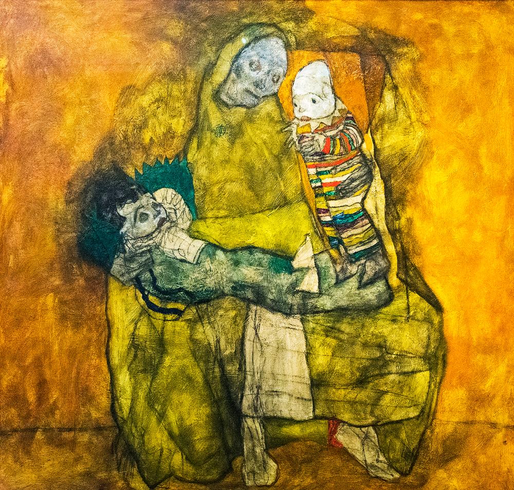 Egon Schiele, Mutter mit zwei Kindern II, oil on canvas