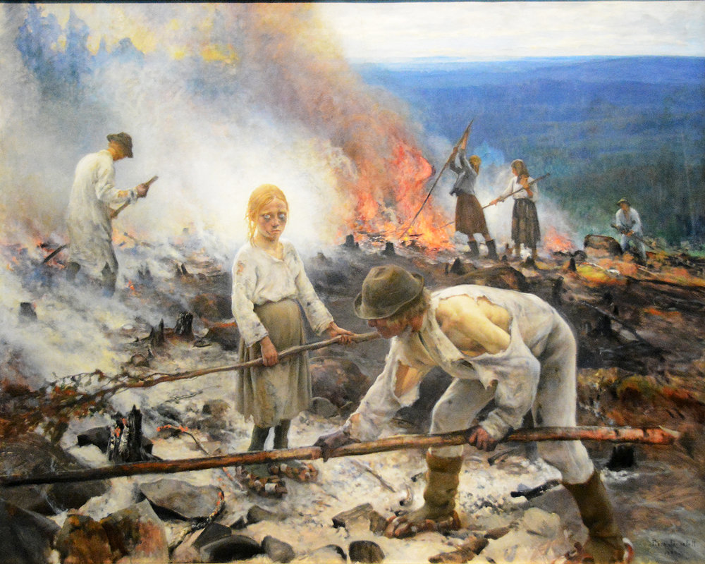 Eero Järnefelt (1863-1937),  Under the Yoke (Burning the Brushwood),  1893