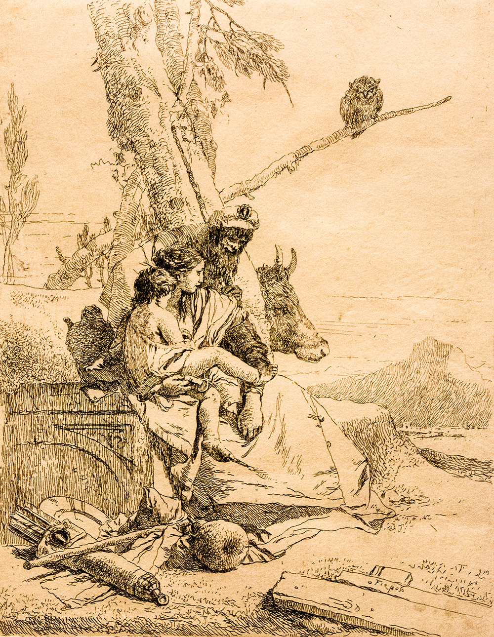Giambattista Tiepolo,  The Family of the Oriental Peasant  (c 1750), from  Scherzi di Fantasia