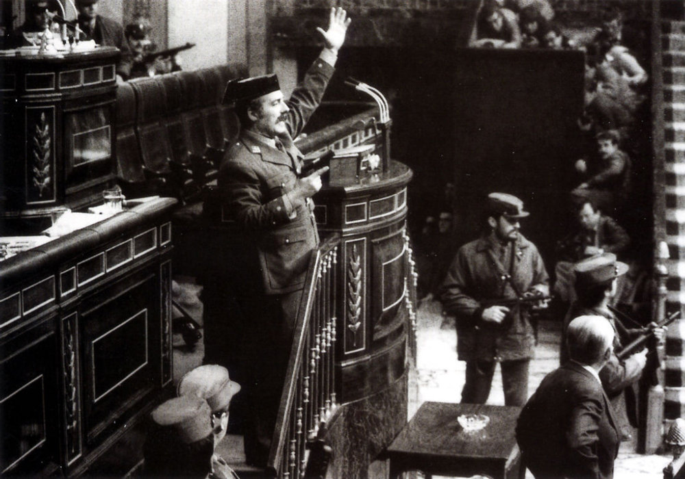 Lieutenant Colonel Antonio Tejero Molina takes over the Spanish Parliament in the failed 1981 anti-democracy coup (photo Manuel Pérez Barriopedro for EFE)