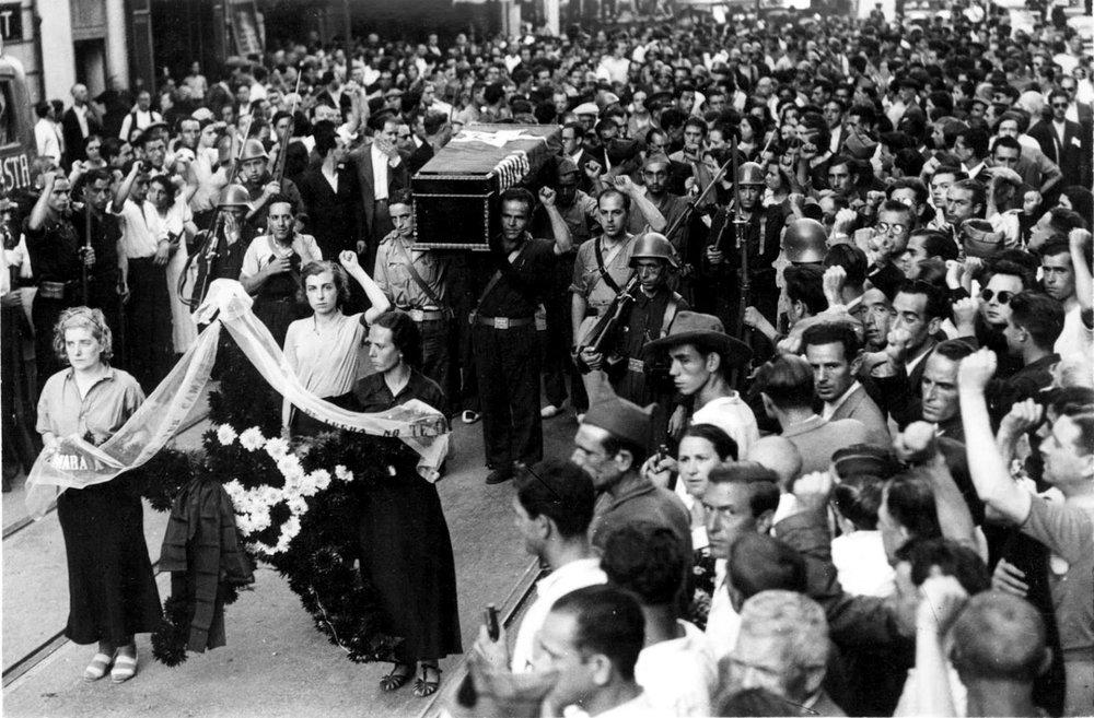 Funeral procession of pro-Republican militiaman José Suárez González, Valencia, 1936