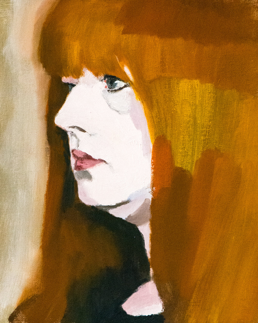The Redhead Model, oil on board, 30x24cm