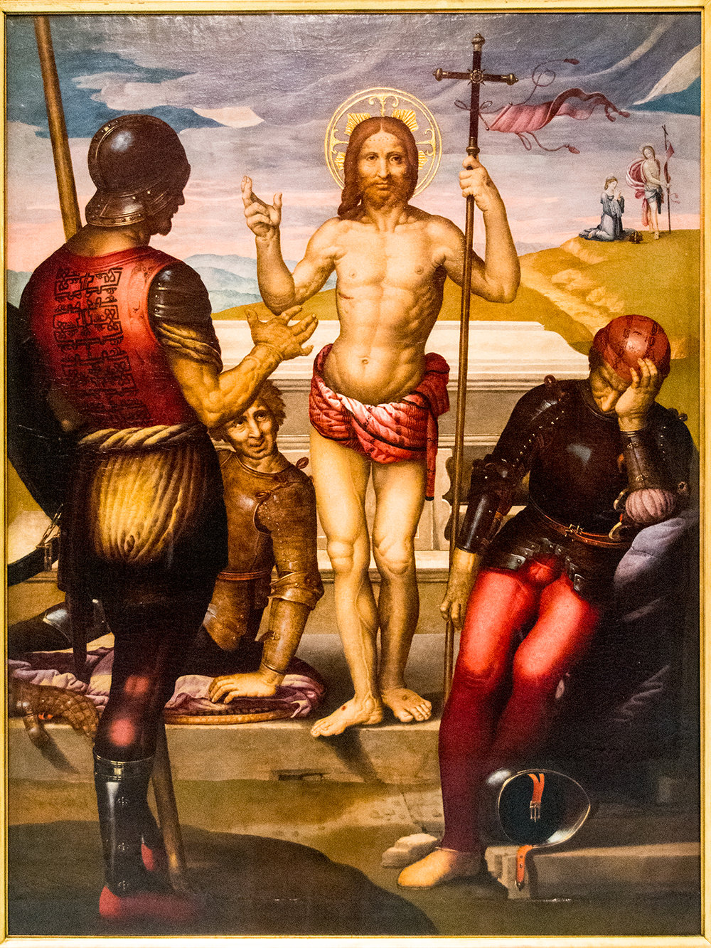 Fernando Yáñez de la Almedina (c 1475-1536),  Resurrection of Christ , oil on wood (Museu de Belles Arts de València)