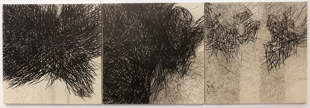 Nicolás Ortigosa,  Sin Título  ( Untitled ), Triptych, graphite on paper, 2007-12 (Fundació Per Amor a l'Art collection)