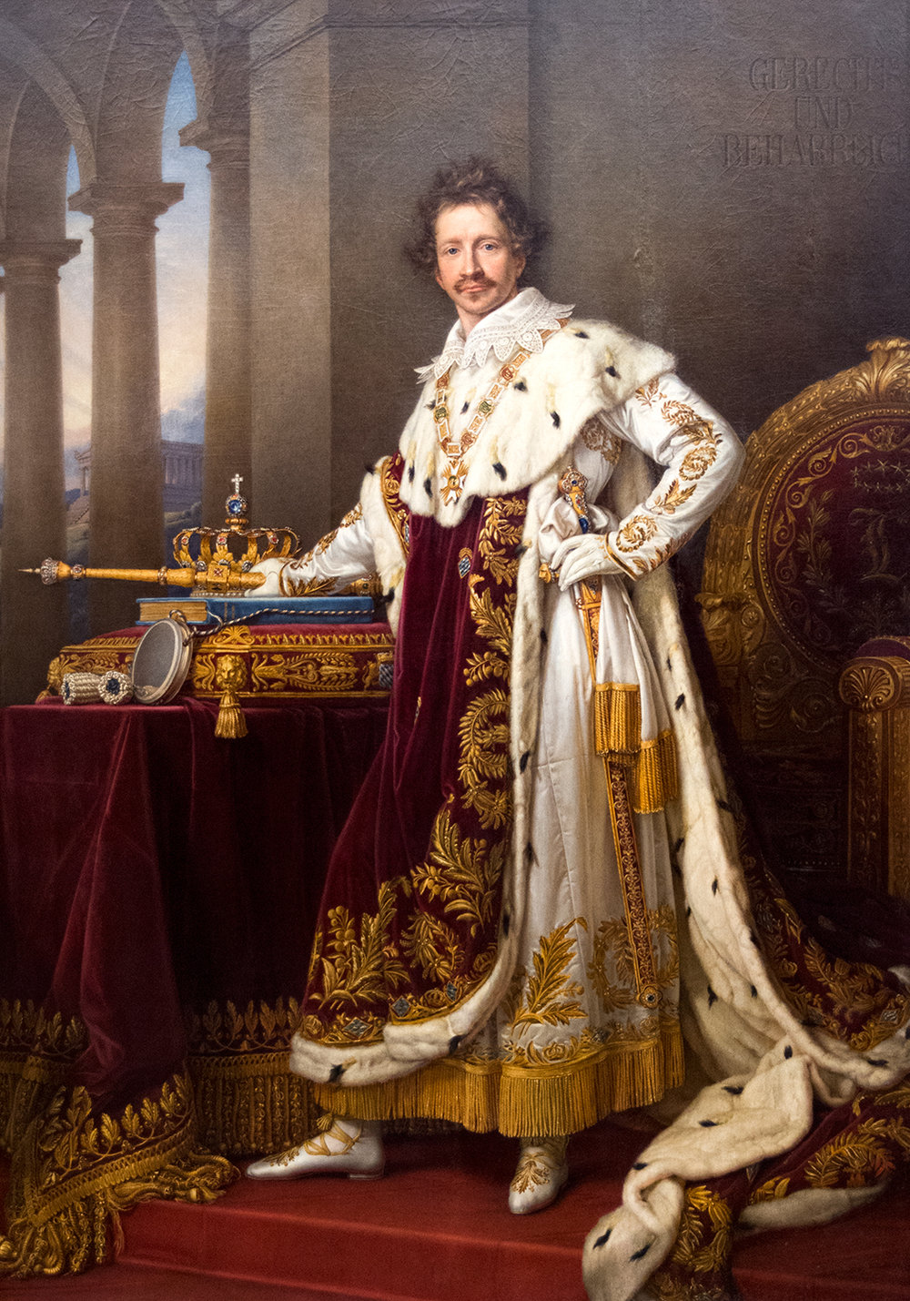 Joseph Stieler (1781-1858),  King Ludwig I of Bavaria  [builder of the Alte and Neue Pinakotheken]  in Coronation Robes  (1826), Neue Pinakothek