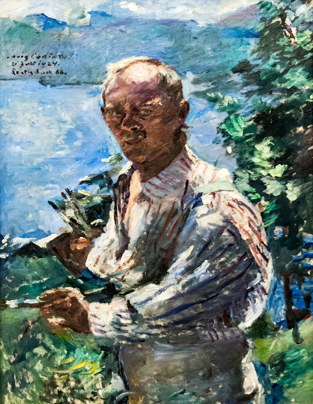 Lovis Corinth,  Self-Portrait with Lake Walchensee in the Background  (1924), Neue Pinakothek