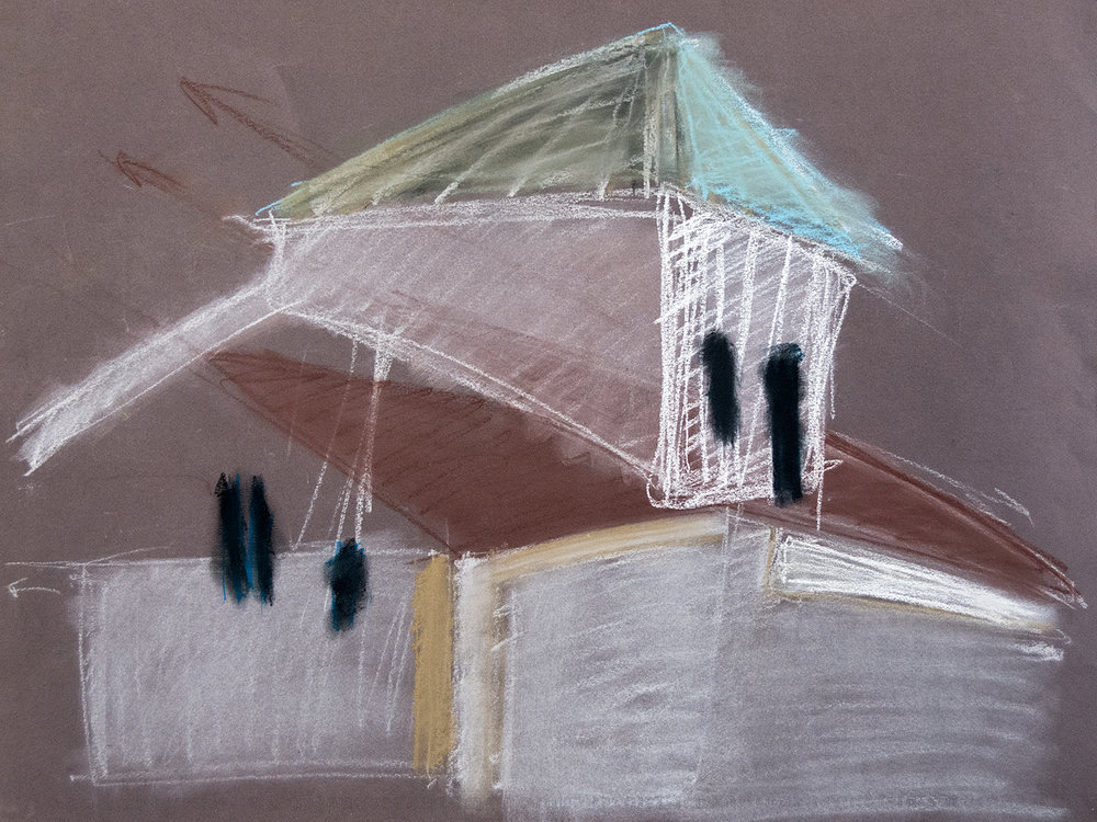Rooftops Study IV, from the Valencia series, pastel and chalk on paper (2016)