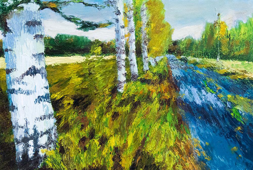 The Country Lane, Joutsa, Finland, oil on paper, 50x35cm (2016)