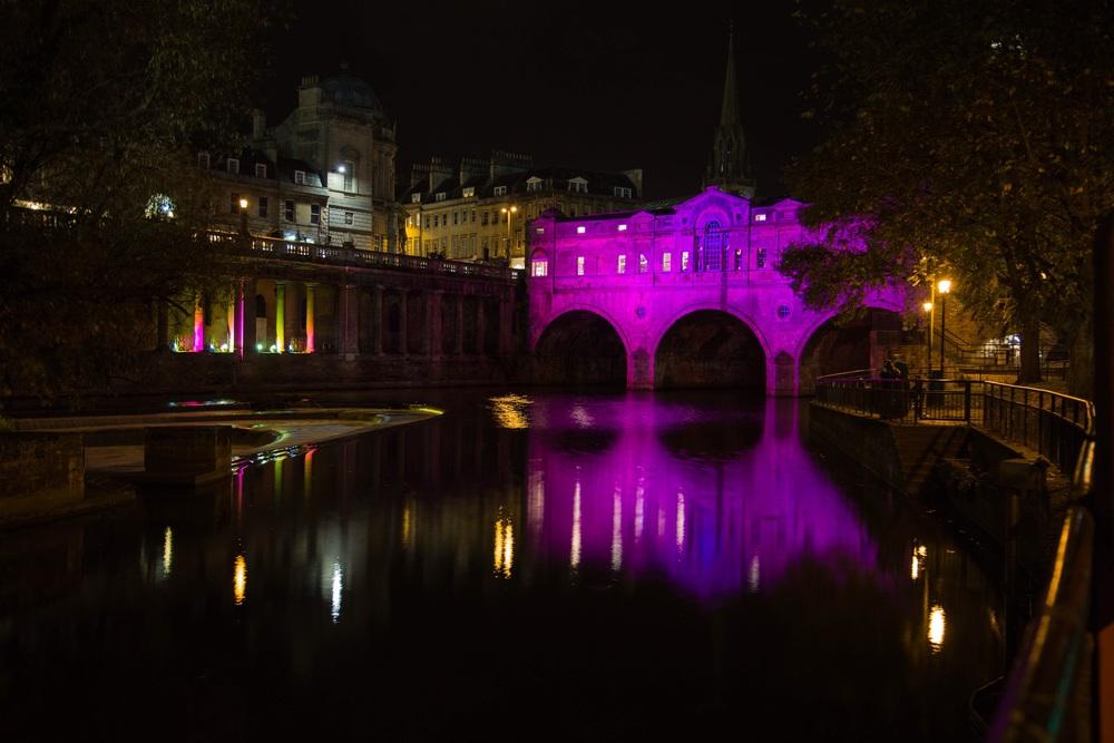 Pulteney Bridge and weir at night, Bath