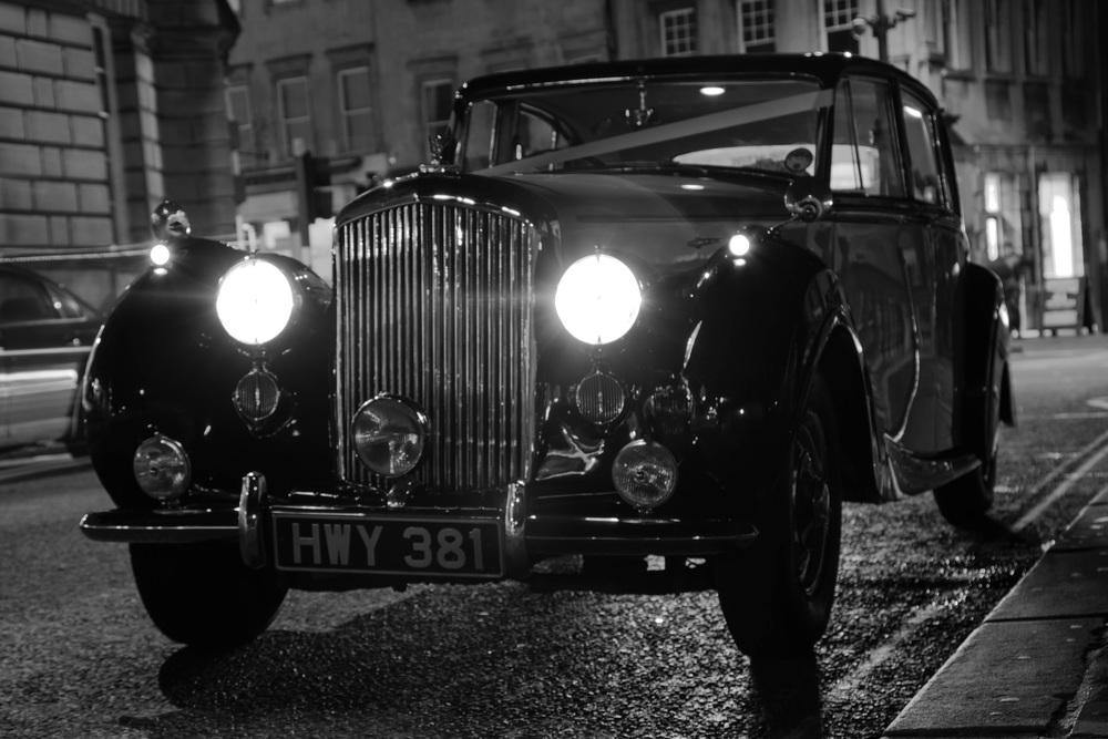 Wedding car at night, Grand Parade, Bath