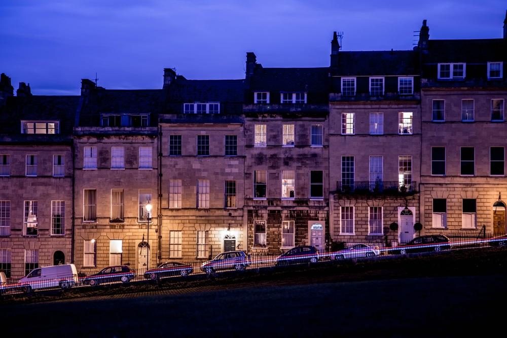 Marlborough Buildings at night, Bath