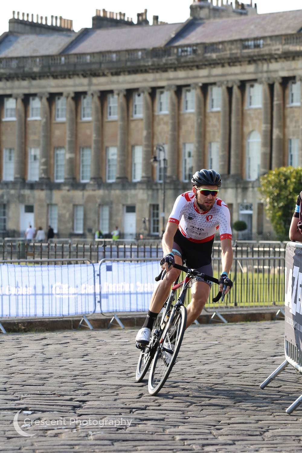 Riding on cobbles on the Royal Crescent
