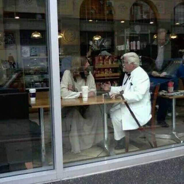 #Jesus and Col. Sanders walked into a #Starbucks... #captioncontest #beard #menofthebeard