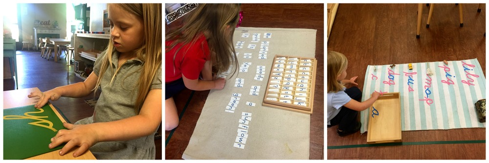 1) Sandpaper letter phonograms 2) A child writing a story 3) Exploring language and composing words