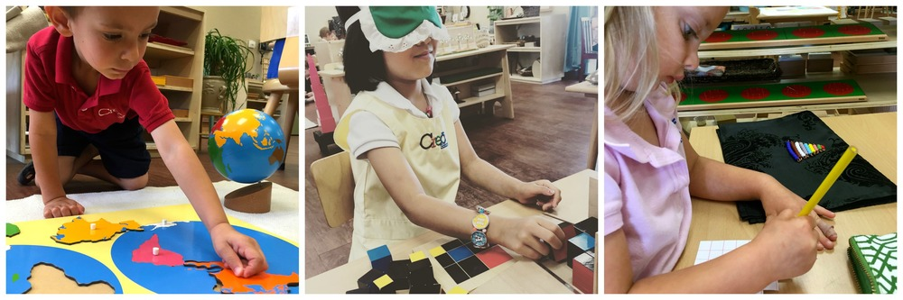 1) Learning the contents of the word 2) Montessori children enjoy a challenge, building the trinomial cube blindfolded 3) Building the color bead stair before working with teen beads