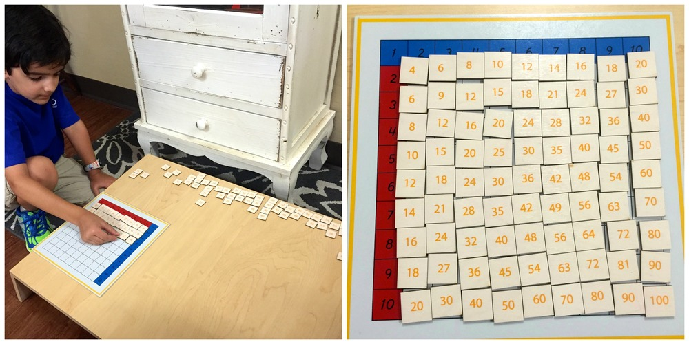 The test within the material is exemplified as the child memorizes the essentialmultiplication products.