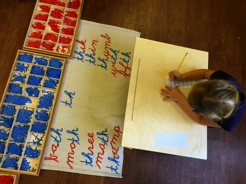 """""""th"""" phonogram. Thinking of words and forming them with the moveable alphabet."""