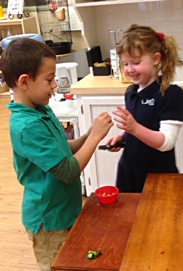 These two friends sharing a giggle as they're preparing food for little foot our beloved bearded dragon