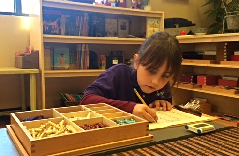 This child is showing great focus on her math work while using the bead box to do her multiplication problems