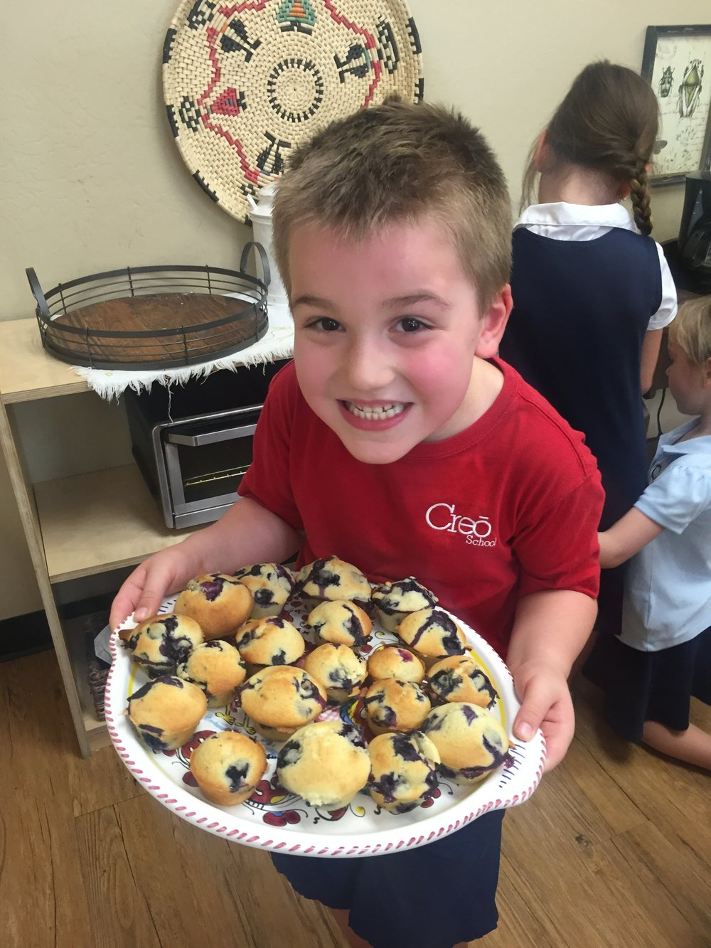 Freshly baked Birthday Blueberry Muffins by children!
