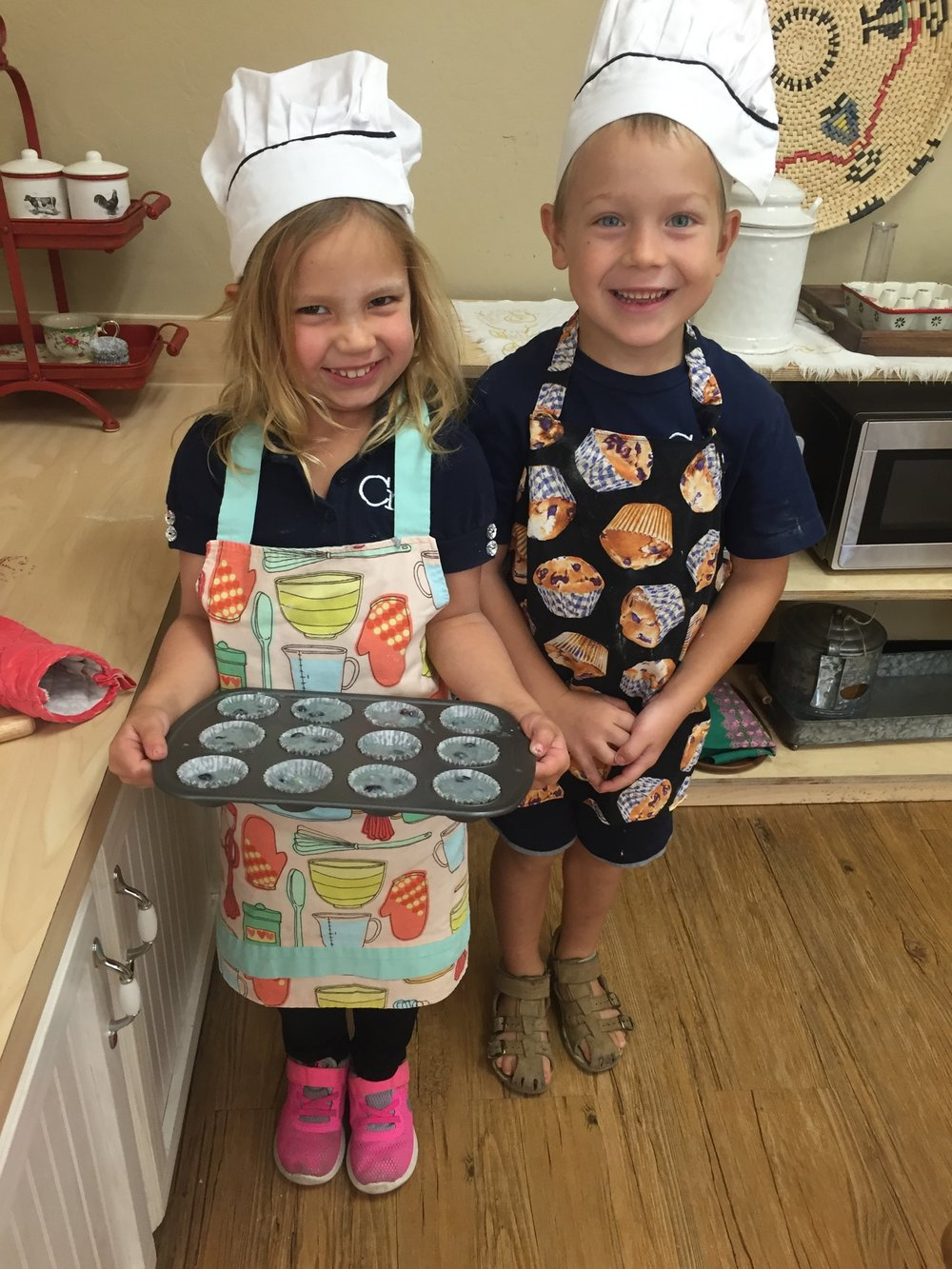 Baking blueberry muffins on her Birthday!