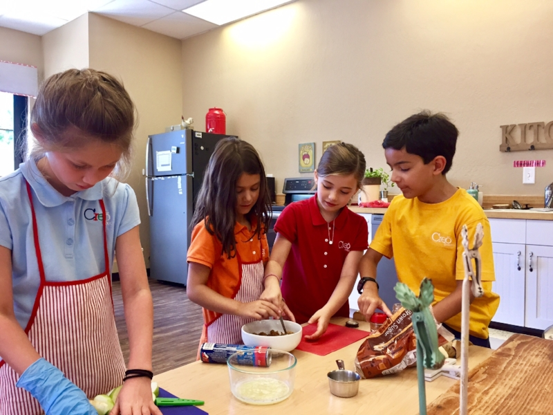 Children baking for a birthday celebration.