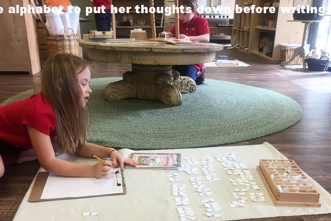 After reading a book, this child decided to use the movable alphabet to put her thoughts down before writing her comprehension on paper.