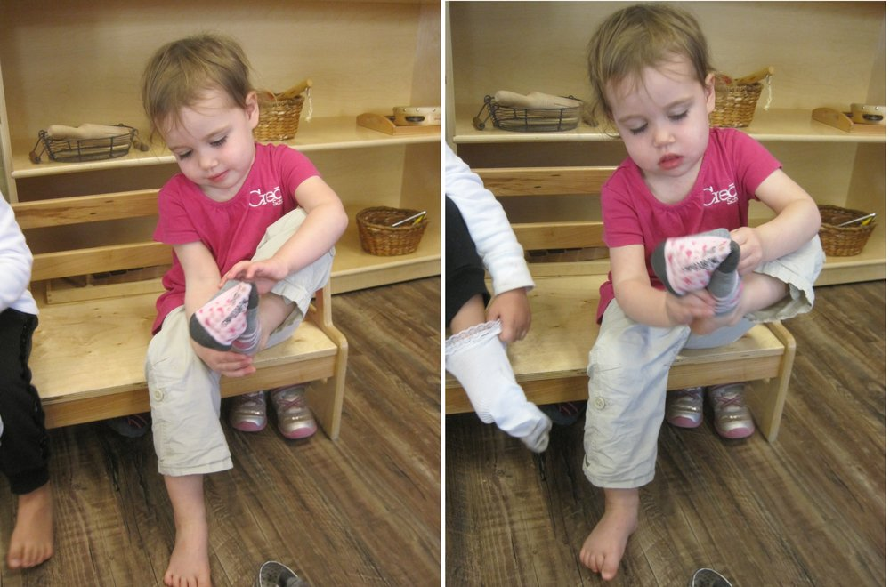 Sitting on the bench when dressing or putting on socks and shoes assists the child with their balance and ability to learn how to do it independently.