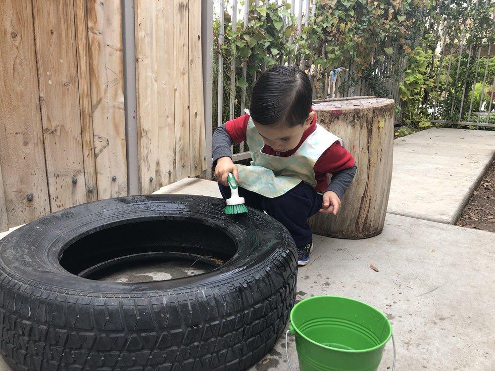 Scrubbing a tire