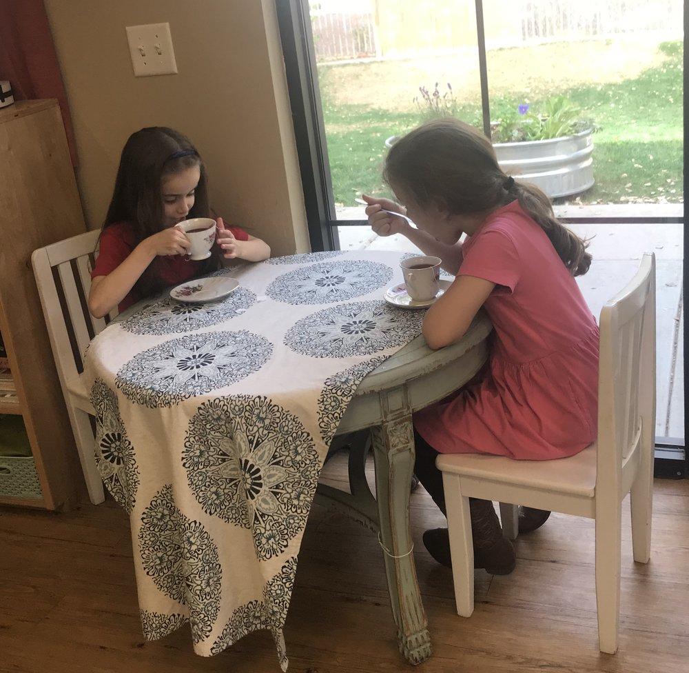 Enjoying tea with a friend