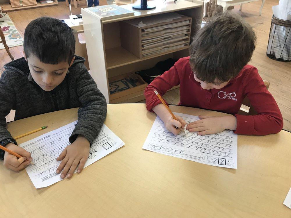 Practicing Cursive writing