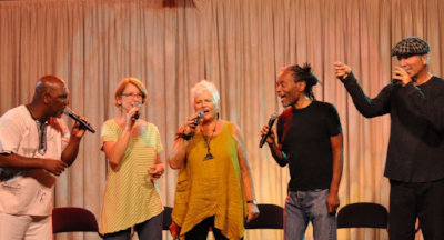 "Joey Blake, Judi Vinar, Rhiannon, Bobby McFerrin and David Worm are "" Gimme5 """