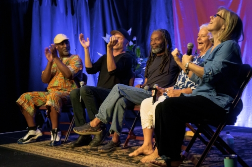 "Joey Blake, David Worm, Bobby McFerrin, Rhiannon and Judi Vinar are ""Gimme5"" - photo by David Dzubinski"