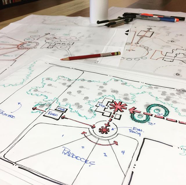 FROM THE STUDIO TABLE: Working on some simple visioning sketches for a private residence and equestrian facility. Client is an outside-the-box-thinker (who doesn't love those?!) and we are throwing away some of the typical equestrian layout formulas and bringing in a fresh approach which dovetails some of the intrinsic beauty of this site (multiple 100+ year-old Oaks) with the functional requirements of an efficient facility. Fun way to kick off the week. #masterplan #landscapearchitecture #staugustine #equestrian