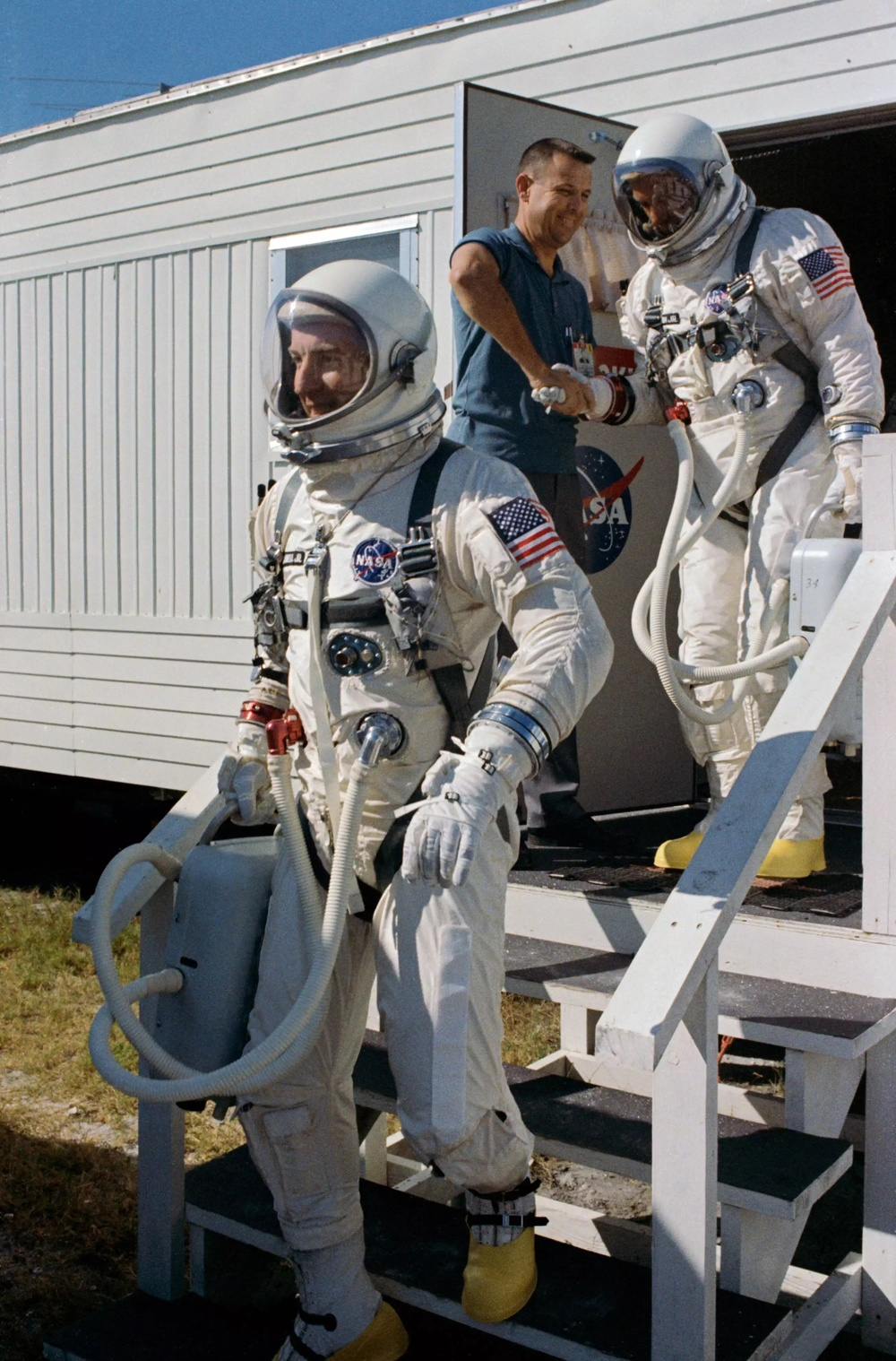 Jim Lovell (left) and Buzz Aldrin (right) on the way to the Titan II GLV rocket. Source: Wikipedia