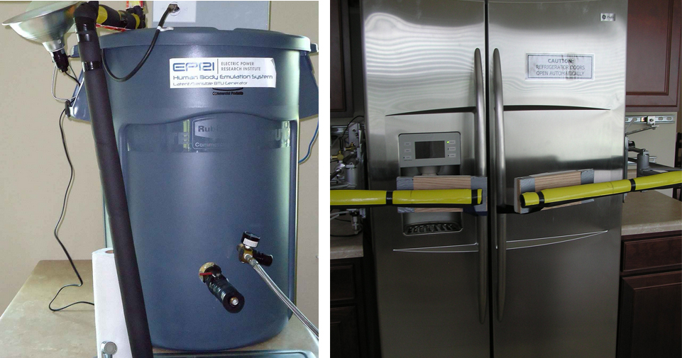 "Left: ""Human Body Emulation System."" Right: Robot refrigerator door openers."