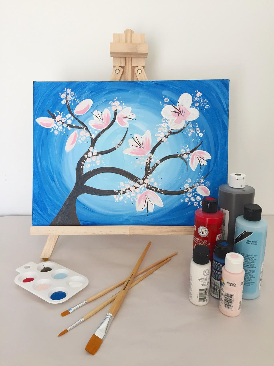 Paint + Wine + a little Design! Brush Strokes Pottery will walk you through painting this gorgeous Cherry Blossom tree while you relax with a glass of wine. All materials are provided and the ticket includes two glasses of wine. Tickets $45