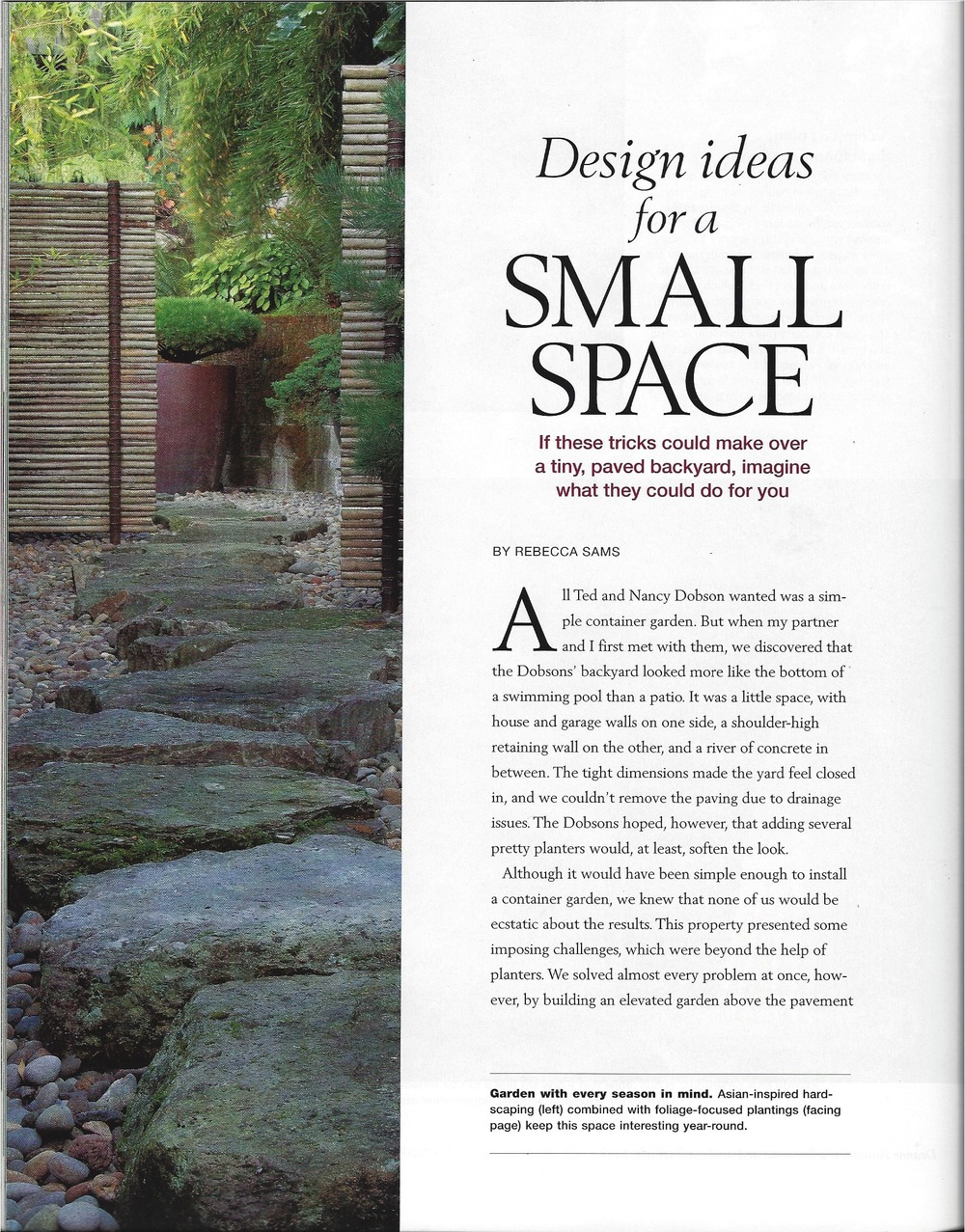 Fine Gardening 'Design Ideas for a Small Space' 2012