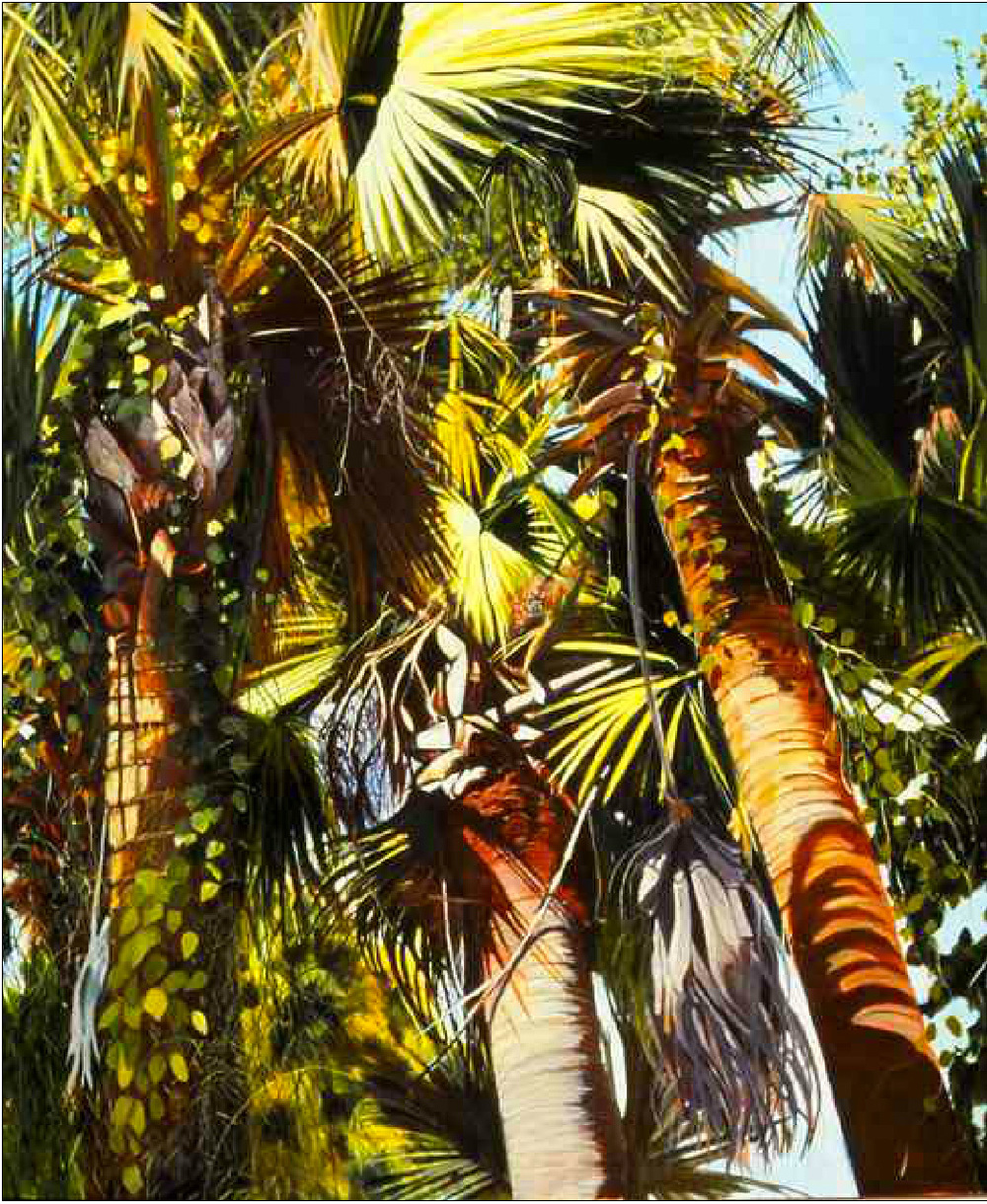 "Trinity by Molly Mabe 44"" x 36""  Have you noticed the way that old palm fronds create unexpected shadows? My mom has."
