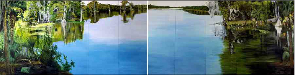 "Dawn Mirrors by Molly Mabe, 60"" x 20'  Five feet by TWENTY feet. And perfect rippling reflections."