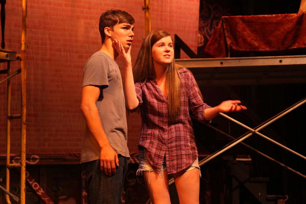 Romeo (Luke Doyle) and Benvolio (Kelly Auld). Romeo & Juliet , The Un-Common Theatre Company, 2010.Photo by Elizabeth Shear .