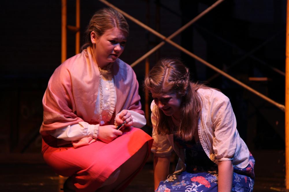 The Nurse (Shannon Ballou) consoles Juliet (Meg Lowey). Romeo & Juliet , The Un-Common Theatre Company, 2010. Photo by  Elizabeth Shear .