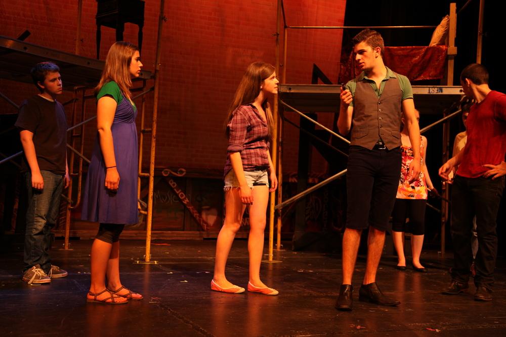 Mercutio (Nick Chris) draws. Romeo & Juliet , The Un-Common Theatre Company, 2010.Photo by Elizabeth Shear .