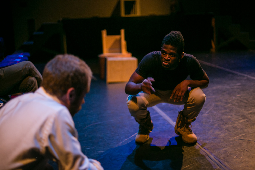 """What wound did ever heal but by degrees?"" (L-R: Patrick T. Horn, Jak Watson.)  The Tragedy of Othello, the Moor of Venice , Schapiro Theater, 2014. Photo by  Amy Sims ."