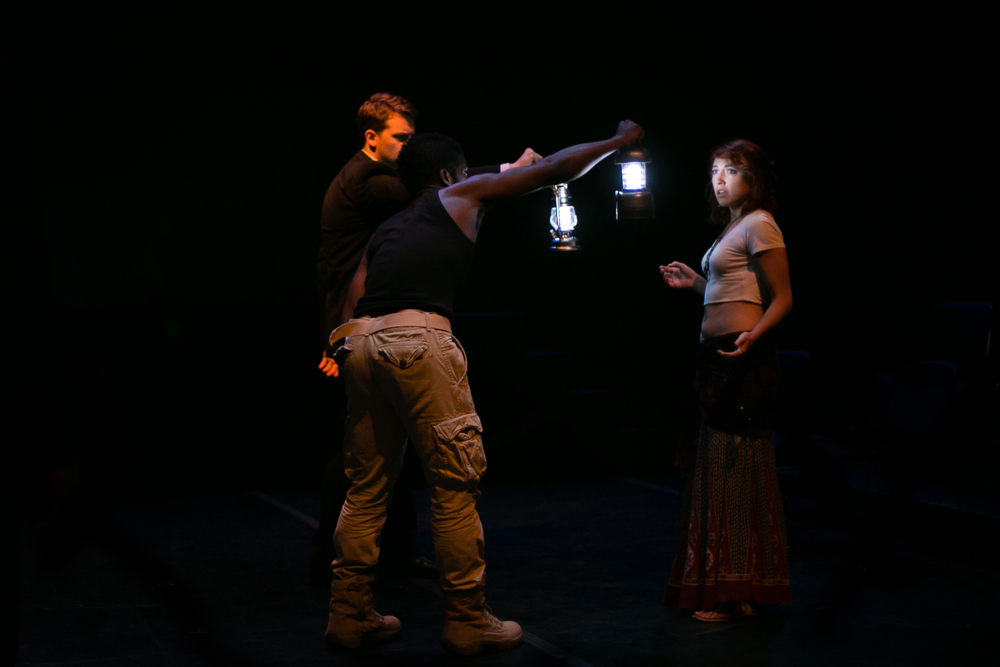 """Dost thou perceive the gastness of her eye?"" (L-R: Eric Larson, Jak Watson, Kate Downey.)  The Tragedy of Othello, the Moor of Venice , Schapiro Theater, 2014. Photo by  Amy Sims ."
