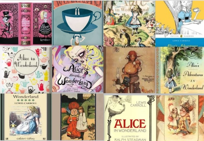 Alice has seen many makeovers throughout her perpetually youthful literary decades. My personal favorite is the copy I own--middle row, second from the left--because I feel the goth illustrations really suit the eeriness of the story.